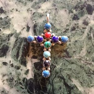 Jewelry - Cross Native American Sterling silver multi stones